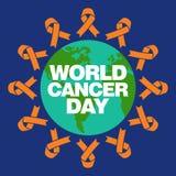 世界癌症天传染媒介模板 库存照片