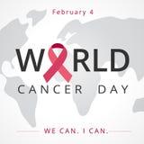 世界癌症天,地图字法横幅,我们能我能 2月4日 免版税库存图片