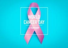 世界癌症天:乳腺癌在蓝色Backgr的了悟丝带 免版税库存照片