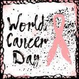 世界癌症天 关于乳腺癌了悟的标志行情 图库摄影