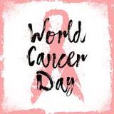 世界癌症天 关于乳腺癌了悟的标志行情 库存图片