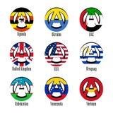世界的不同的国家旗子以无政府状态的形式标志的 向量例证