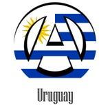 世界的乌拉圭的旗子以无政府状态的形式标志的 向量例证