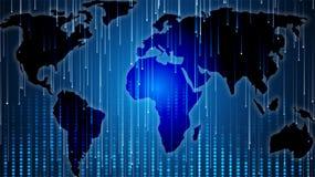 世界的全球性地图在数字式例证的 免版税库存图片