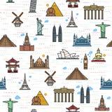 世界的吸引力的无缝的颜色样式 免版税图库摄影