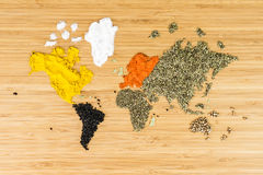 世界的地图由白色各种各样的spicies做成 免版税库存照片