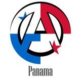 世界的巴拿马的旗子以无政府状态的形式标志的 皇族释放例证