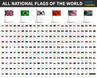 世界的所有国旗 与旗杆的现实挥动的织品和阴影设计 向量 库存例证