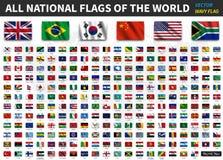 世界的所有国旗 与阴影设计的现实挥动的织品纹理 向量 库存例证