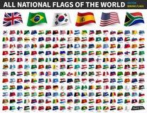 世界的所有国旗 挥动的旗子设计 ?? 向量例证