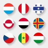 世界的旗子,圆的按钮 免版税图库摄影