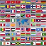 从世界的旗子 库存照片