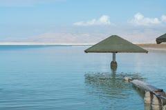 世界的最低的咸湖在海平面死海下,有很多分钟 免版税图库摄影