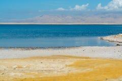 世界的最低的咸湖在海平面死海下,有很多分钟 免版税库存图片