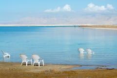 世界的最低的咸湖在海平面死海下,有很多分钟 库存照片