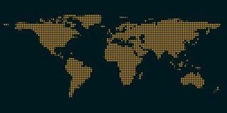 世界的深蓝地图与光的  库存照片