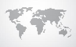 世界的简单的地图由黑条纹做成 免版税图库摄影