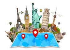 世界的纪念碑在地图的 图库摄影