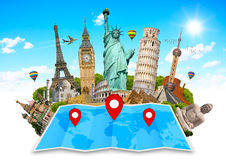 世界的纪念碑在地图的 库存图片
