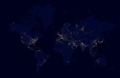 世界的详细的夜地图与光城市的 免版税库存图片