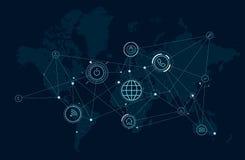 世界的通讯网络地图,数据处理活动,无线技术 向量例证