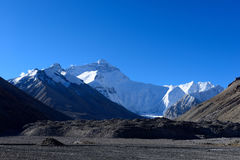 世界的高山珠穆朗玛峰在西藏 库存图片