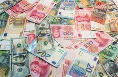 世界的主要货币当金钱背景 库存照片