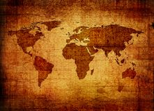 世界的Grunge映射 库存例证