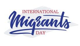 世界移民天-手写的文本,印刷术,手字法,书法 库存照片
