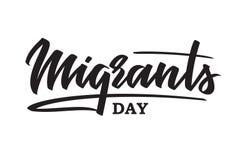 世界移民天-手写的文本,印刷术,手字法,书法 免版税库存照片