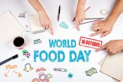 世界粮食日 会议在白色办公室桌上 库存照片