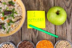世界素食天的概念, 10月1日 库存照片