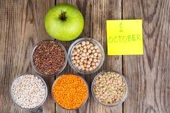 世界素食天的概念, 10月1日 免版税库存图片