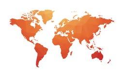 世界红色橙色地图  库存图片