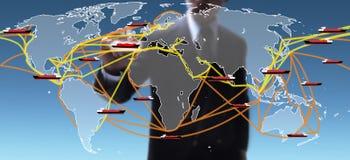 世界航运路线映射 免版税库存照片