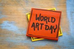 世界艺术天-提示笔记 库存照片