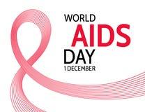 世界艾滋病日 抽象红色丝带 库存例证
