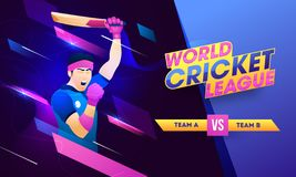 世界蟋蟀同盟与板球运动员的例证的海报或横幅设计赢得的姿势的 向量例证