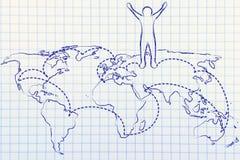 世界观光旅行家生活:世界地图的愉快的人与被参观的地方 库存图片