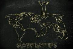 世界观光旅行家生活:世界地图的愉快的人与被参观的地方 图库摄影