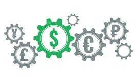 世界货币齿轮概念,绿色美元 免版税库存图片