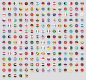 世界贴纸的所有国旗与名字的 被环绕的旗子,圆设计,贴纸 优质传染媒介旗子隔绝了o 皇族释放例证