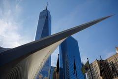 世界贸易中心一号大楼建筑在纽约 库存图片