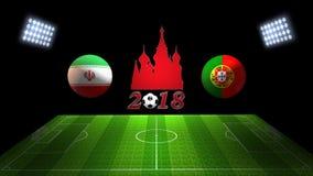 世界足球杯比赛2018年在俄罗斯:伊朗对 葡萄牙, 3D的 库存照片