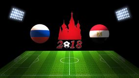世界足球杯比赛2018年在俄罗斯:俄罗斯对 埃及, 3D的 库存图片