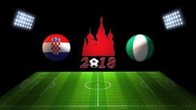 世界足球杯比赛2018年在俄罗斯:克罗地亚对 尼日利亚,  免版税库存图片