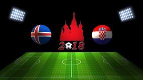 世界足球杯比赛2018年在俄罗斯:冰岛对 克罗地亚,  库存照片