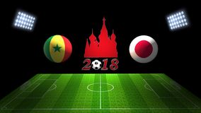 世界足球杯比赛2018年在俄罗斯:塞内加尔对 日本, 3D的 免版税库存图片
