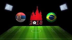 世界足球杯比赛2018年在俄罗斯:塞尔维亚对 巴西, 3D的 库存图片
