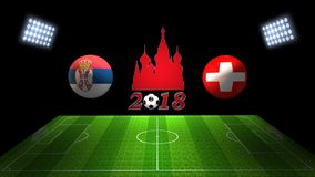 世界足球杯比赛2018年在俄罗斯:塞尔维亚对 瑞士, 库存图片
